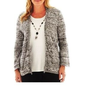NEW Alfred Dunner Sweater Cardigan Textured size S